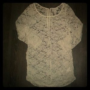 Jessica Simpson white lace maternity shirt sz xl